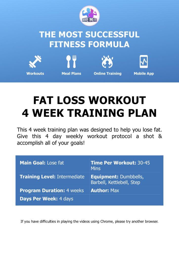 FREE Fat Loss 4 Week Workout Plan